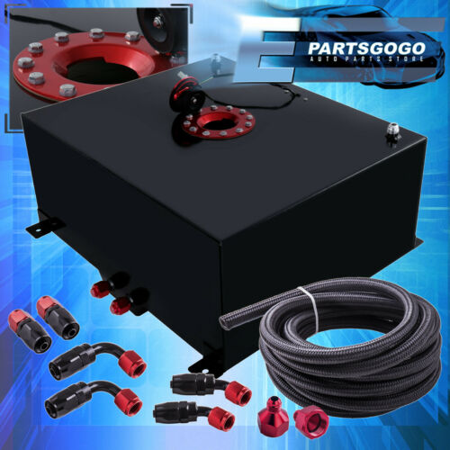 Black Aluminum 21 Gallon Fuel Cell Tank W// Red Cap Braided Nylon Oil Feed Line