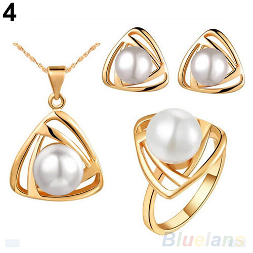 HOT SALE WOMENS JEWELRY SET ALLOY PEARL PENDANT NECKLACE EARRINGS EAR STUDS RING