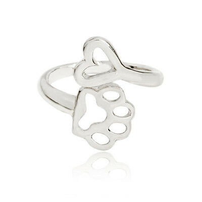 Fashion Dog Paw Print Love Heart Ring Open Adjustable Ring Cat Pet Animal New