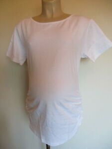 CLASSIC-WHITE-RUCHED-MATERNITY-T-SHIRT-TOP-SIZE-12-14-16-18-20-NEW