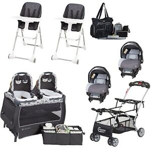 Details About Baby Combo Set Double Stroller Frame 2 Car Seats Chairs Twins Nursery Center