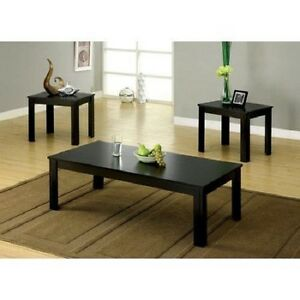 coffee table 2 end tables side 3 piece set modern black