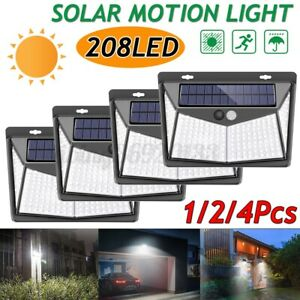 1-2-4Pcs-Lampada-Solare-208-LED-Esterno-Luce-Faretto-Sensore-di-Movimento-IP65