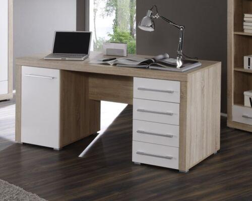 CHARON Schreibtisch Tisch Computertisch 160x70cm Dekor Sonoma Eiche Weiß weiss