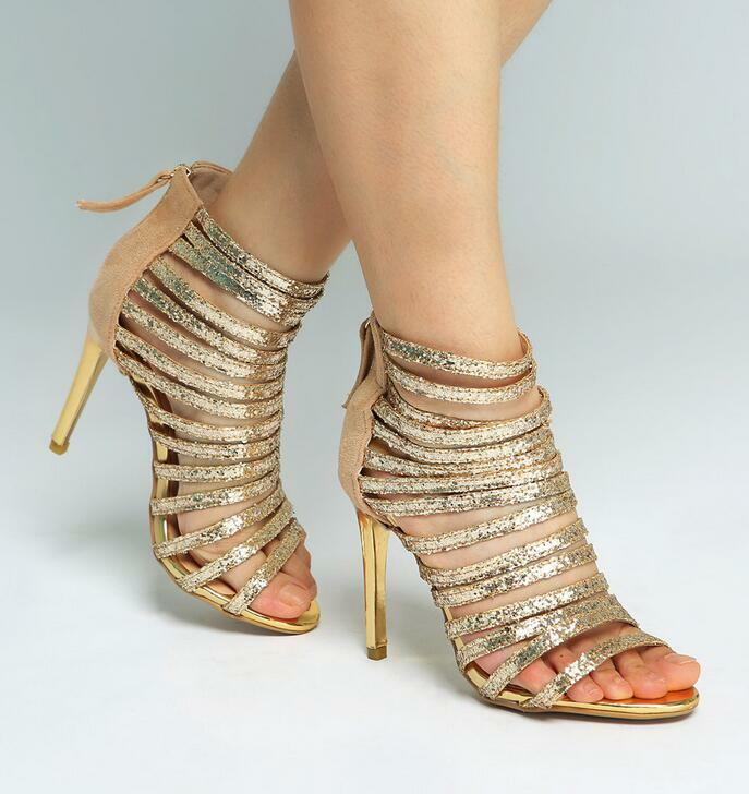 Sexy Womens Wedding Bling Sequins Fashion Party High Heel shoes Uk Sz35-43