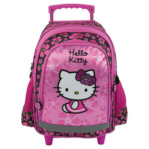55f5a3952 Image is loading HELLO-KITTY-TROLLEY-School-Bag-Backpack-on-wheels-