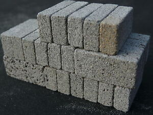 20 Small Scale Miniature Concrete Blocks / Breeze Blocks