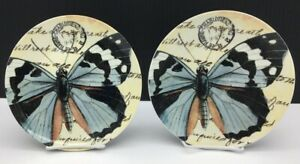 Pottery Barn COASTAL CURIOSITY Butterfly Salad Plates Set of 2 Perfect Condition