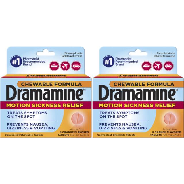 Paquete de 2 Dramamine Mareos Alivio, Tabletas Masticables Naranja Sabor, 8 Each