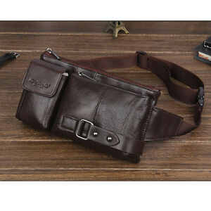 Men Geunine Leather Fanny Pack Belt Hip Purse Cell Phone Sling Chest Waist Bag