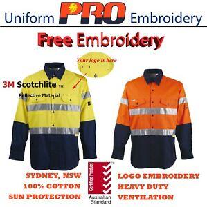 5-pack-Hi-Vis-Work-Shirt-cotton-drill-3M-Taped-Long-Sleeve-free-logo-embroidery