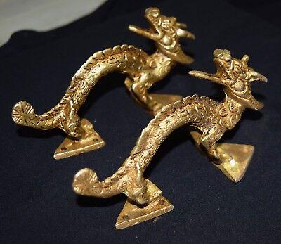 Chinese Dragon Figure Door Handle Golden Brass Handmade Wardrobe Window Pull Dec