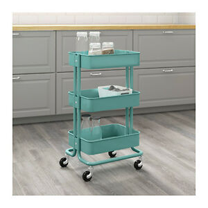 Image Is Loading Ikea Raskog Kitchen Trolley Turquoise Castors Shelves Storage