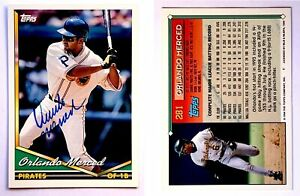 Orlando-Merced-Signed-1994-Topps-281-Card-Pittsburgh-Pirates-Auto-Autograph