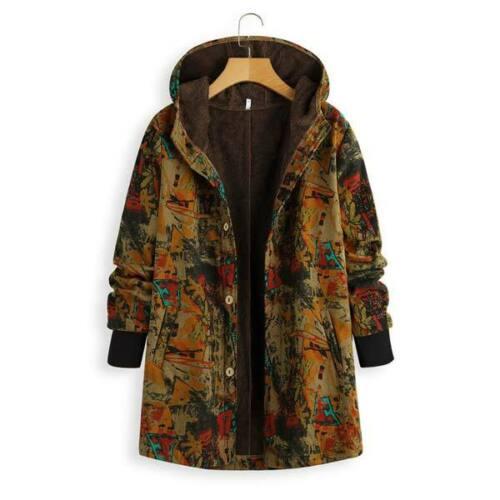 Jacket Women/'s Fluffy Warm New Floral Parka Hooded Outwear Coat Winter Padded