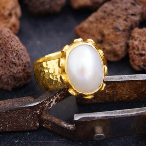 Sterling Silver Unique Wide Pearl Ring By Omer Ancient Art 24k Gold Vermeil