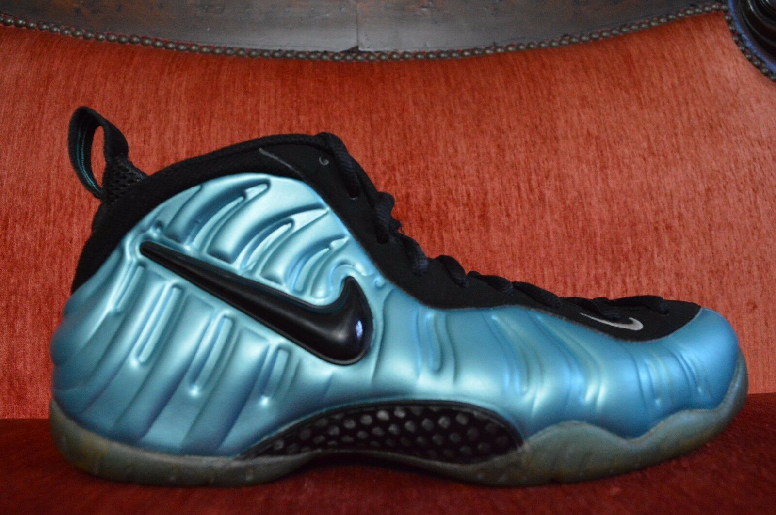 NIKE AIR FOAMPOSITE PRO ELECTRIC BLUE Size 9.5 RETRO 624041-410 8/10 Condition