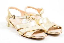 Chanel Resort 2015 Gold Metallic Leather Cross Ankle Strap Heel Sandals SZ 38.5