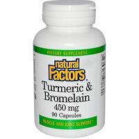 Natural Factors Turmeric & Bromelain - 90 - 450mg Capsules - Muscle & Joint