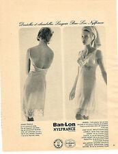 PUBLICITE ADVERTISING  1962   BAN LON NYLFRANCE nuisette  MISSDELL PRADELS
