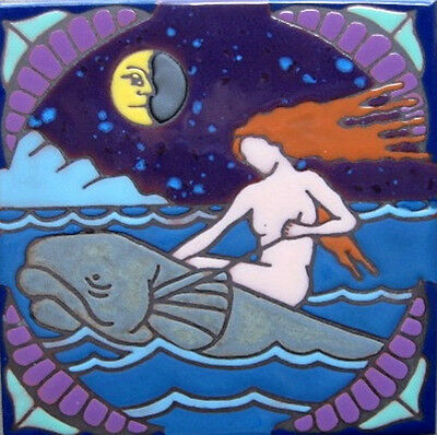 Handpainted Ceramic Tile Art Sea Nymph Mermaid painting/trivet/backsplash