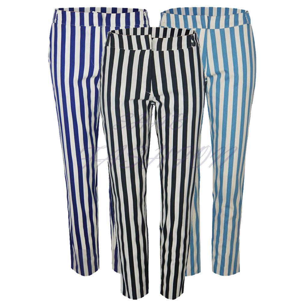 Donna Casual a Righe DENIM SLIM SKINNY Peg Pantaloni Jeans Jeggings Pantaloni