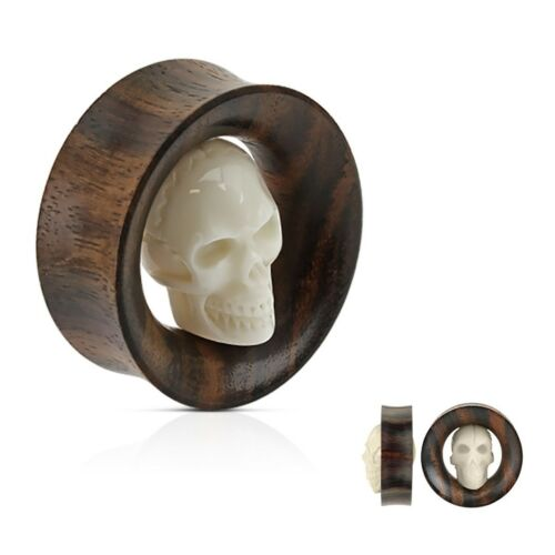 "PAIR-Wood w//Carved Bone Skull Saddle Flare Ear Tunnels 25mm//1/"" Gauge Body Jewelr"