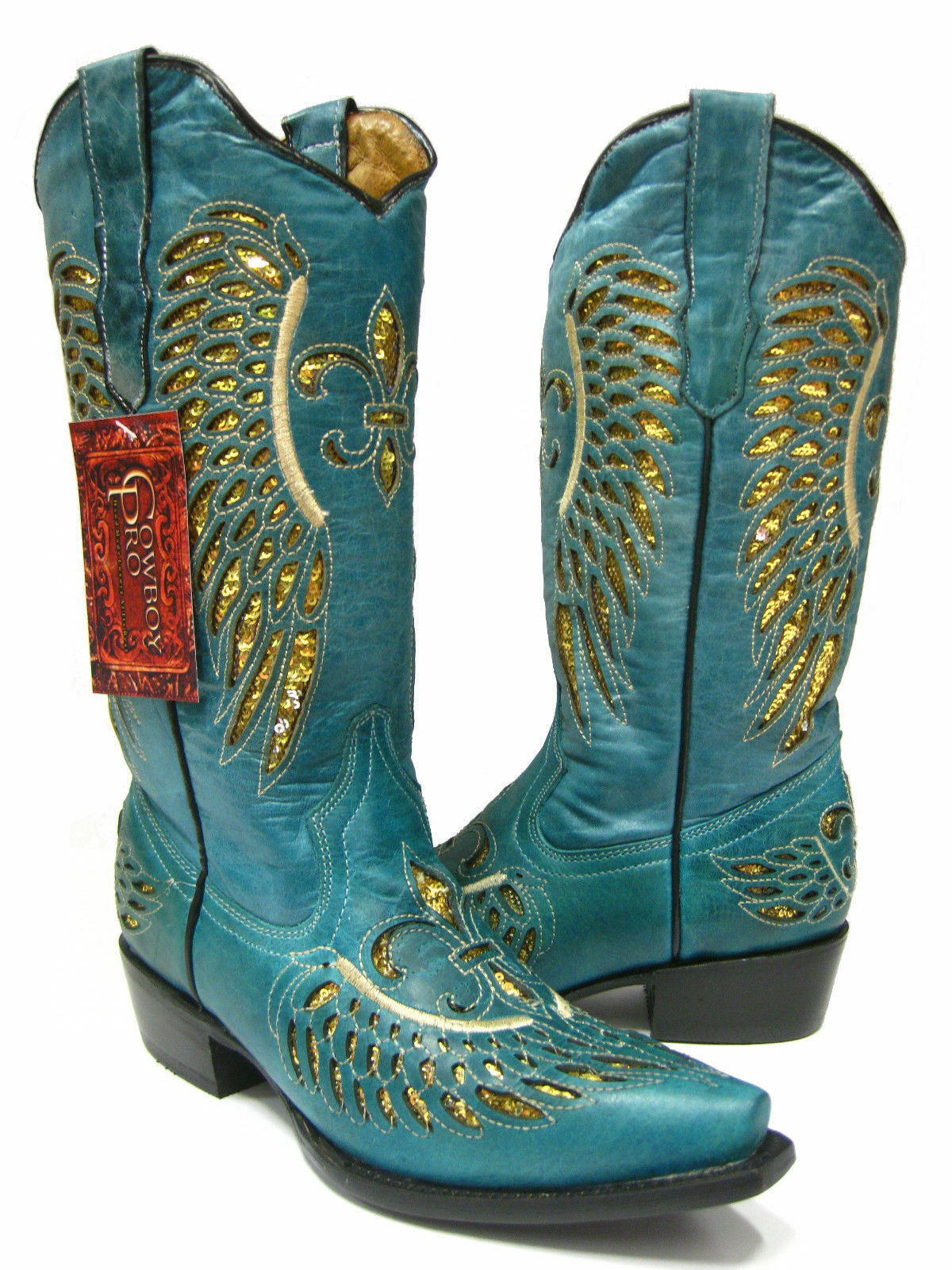 Wouomo Turquoise Flower Inlay oro Sequins Wear Leather Leather Leather Cowboy stivali Snip Toe 9a7972