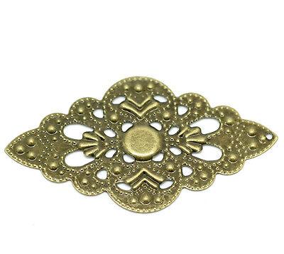 50 Bronze Filigree Wraps DIY Connectors Pendants Embellishments Findings Art Dec