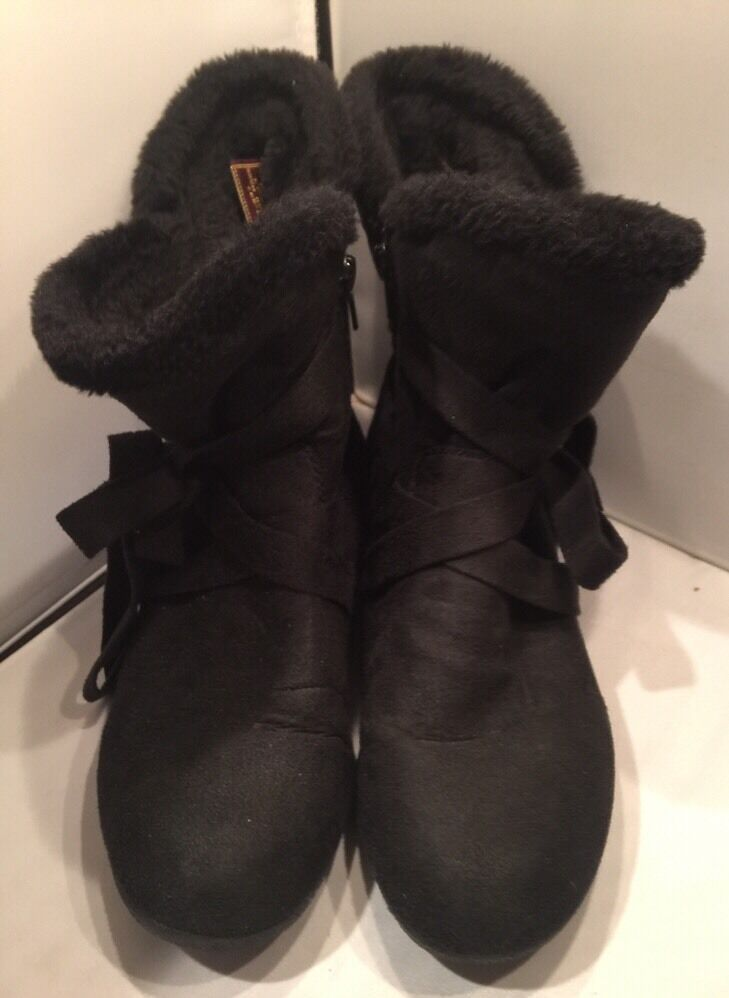 7M CA Collection by Carrini black Faux Suede Side Zip Boots