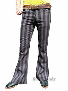 FLARES-Grey-Black-Striped-mens-bell-bottoms-hippie-vtg-indie-trousers-60-039-s-70-039-s