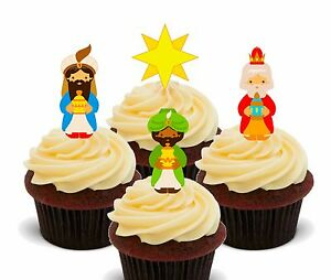 30 x Christmas Snowmen STAND UP Cupcake Toppers Edible Wafer Paper Fairy Cakes