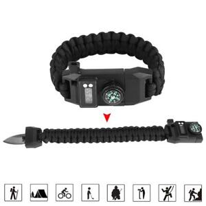 Outdoor-Camping-Survival-Emergency-Gear-Paracord-Compass-Bracelet-Watch-Green