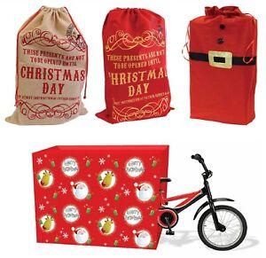 Natale-Xmas-Grande-feltro-BABBO-NATALE-SACCO-REGALI-bambini-calza-Bag-Borsa-Regalo-di-Natale