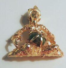 Vintage BSK Gold Woman Figural Asian? Egyptian? Jade Brooch PIN