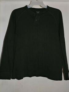 Banana-Republic-Men-039-s-Long-Sleeve-Henley-Shirt-Dark-Green-Size-Large-GUC