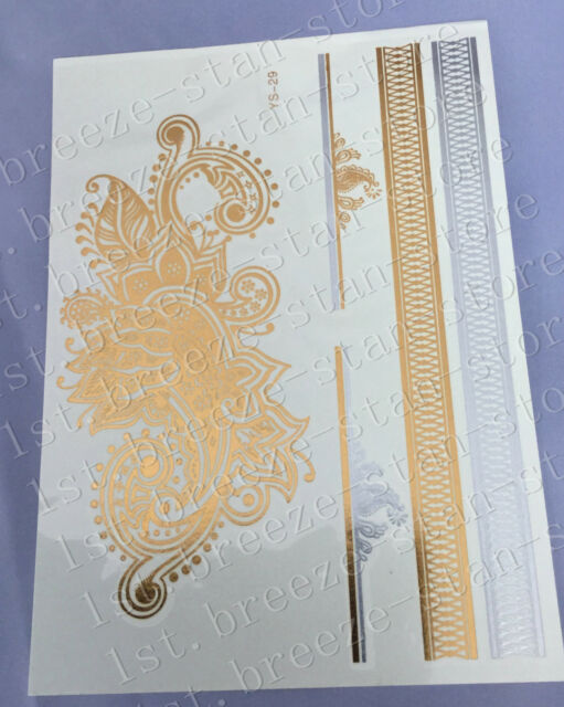 You deserve to have Temporary Metallic Tattoo Gold Silver Black Flash Tattoos