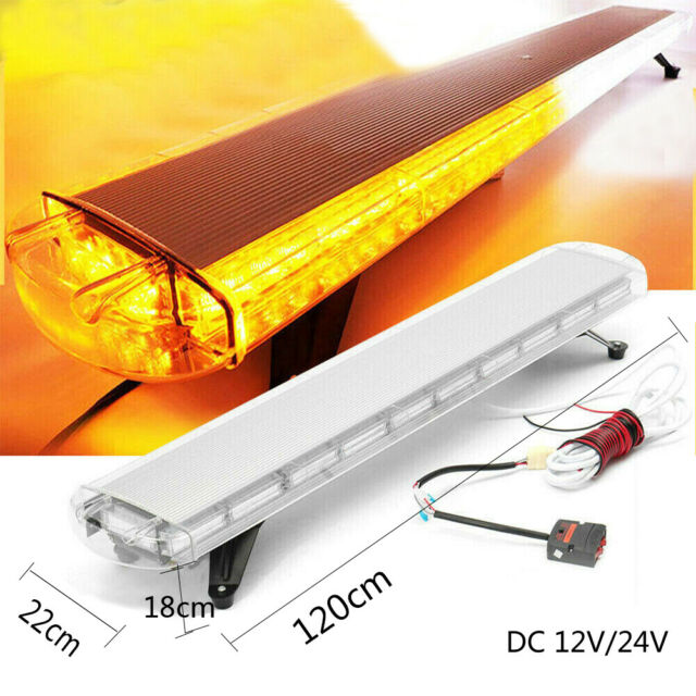 "DC 12-24V 88W 88LED 47/"" Emergency Flash Strobe Work Light Bar Amber Roof Top Kit"