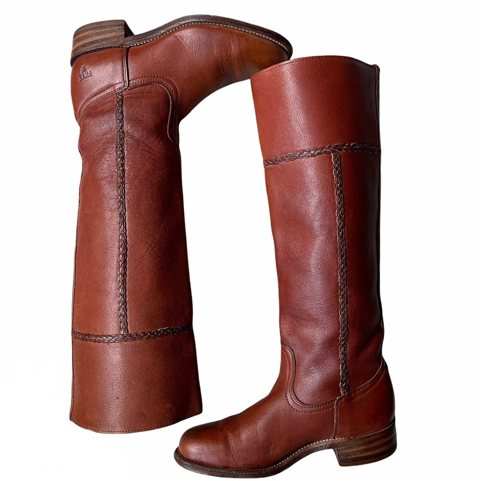 Frye Vintage Cognac Brown Leather Saddle Campus Braid Boots. Women's 5.5