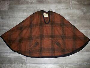 Vtg-Reversible-Plaid-Bemidji-Wool-Cape-Cloak-Pullover-Poncho-Blanket-Hippie-Boho