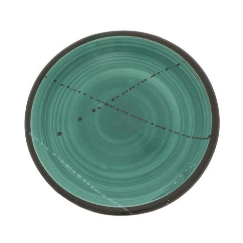 """Handmade Ceramic Dinner Plate or Dish Set of 6 22cm Green 8.6/"""""""