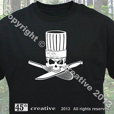 Chef Crossbones T-shirt - skull chef hat cooking knife whisk baking tee shirt