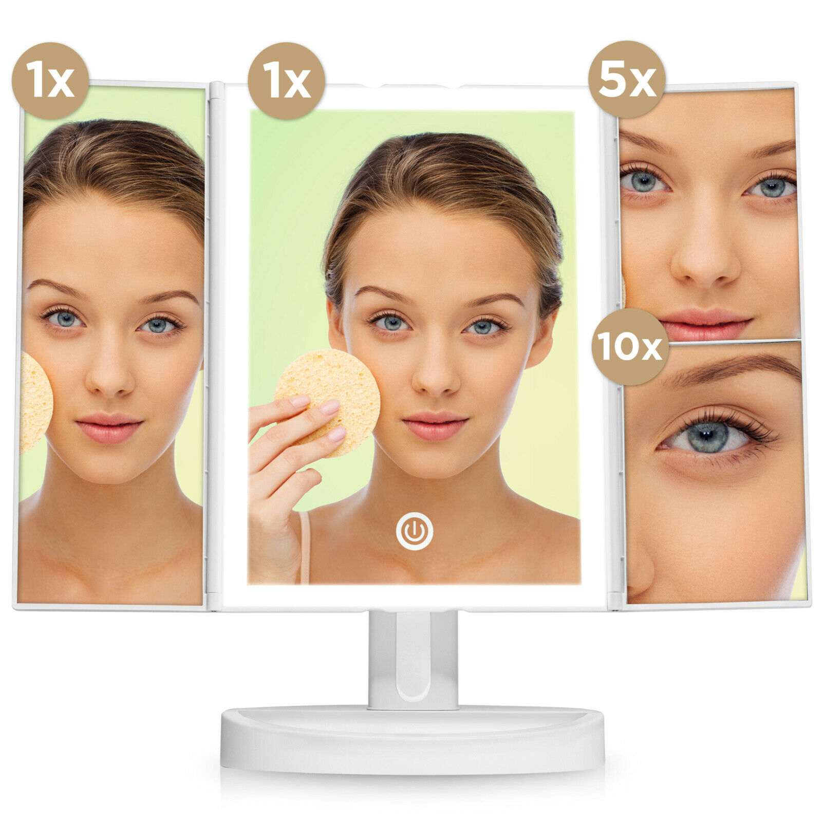 Fancii Trifold Vanity Mirror With Led Lights Lighted Makeup Mirror With 5x 10x For Sale Online Ebay