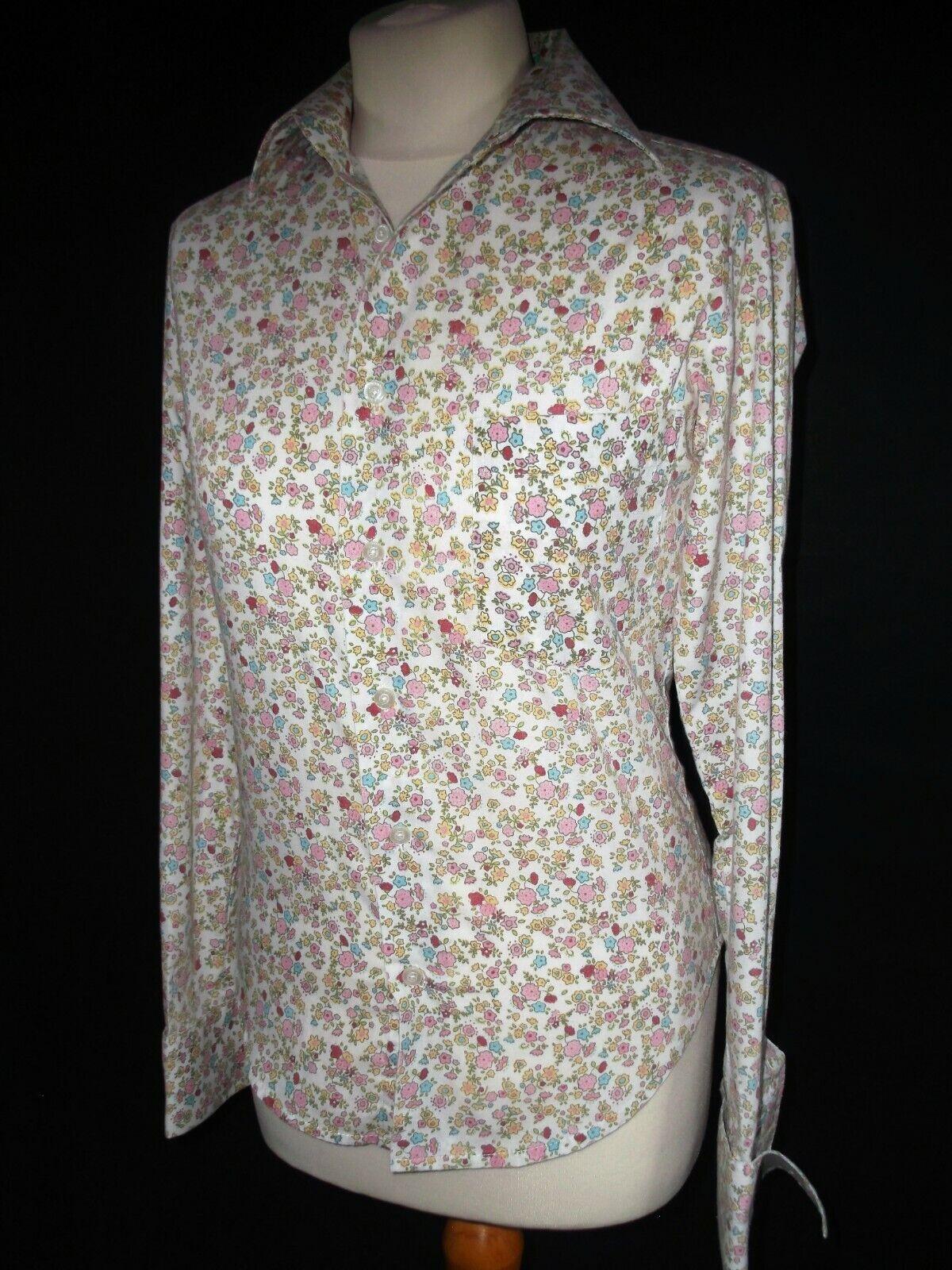 Piuttosto Cotone floreale rosa fresco cotone cotone cotone camicia taglia small PAUL SMITH 3424bd