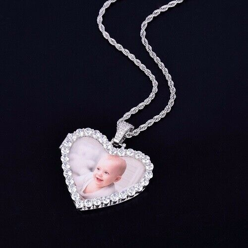 Custom Photo Pendant Heart Necklace Picture Chain Medallion Gift Jewelry Bling