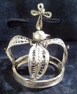 Antique Spanish Colonial Silver Corona Religious