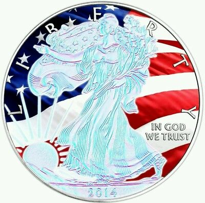 2014 Hologram Patriotic Walking Liberty US Silver Eagle 1oz .999 Silver Coin