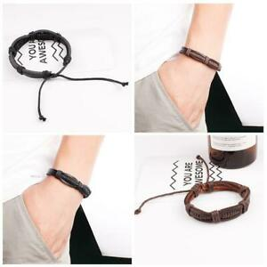 Fashion-New-Men-Women-Leather-Wraps-Bracelet-Adjustable-High-Jewelries-Qual-I8C6