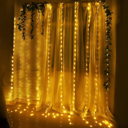 300 LED Curtain Fairy Lights USB String Light With Remote Xmas Party Wedding US