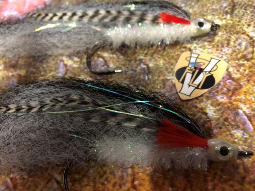 2 V Fly Size 6//0 Ultimate Silver Flash BaitFish Super Predator Saltwater Flies